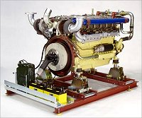 Universal Engine Support with 12-cylinder Diesel engine